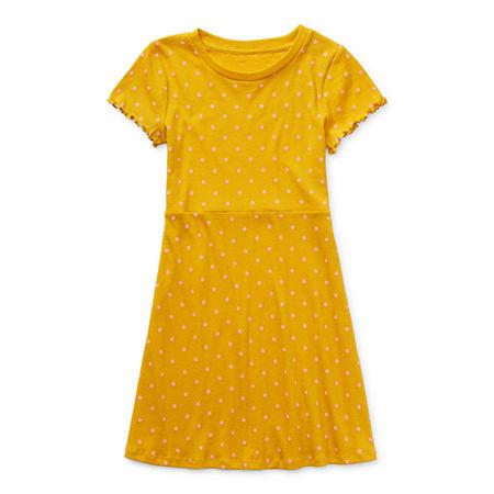 Arizona Little & Big Girls Short Sleeve Skater Dress, Xx-small (4-5) , Yellow