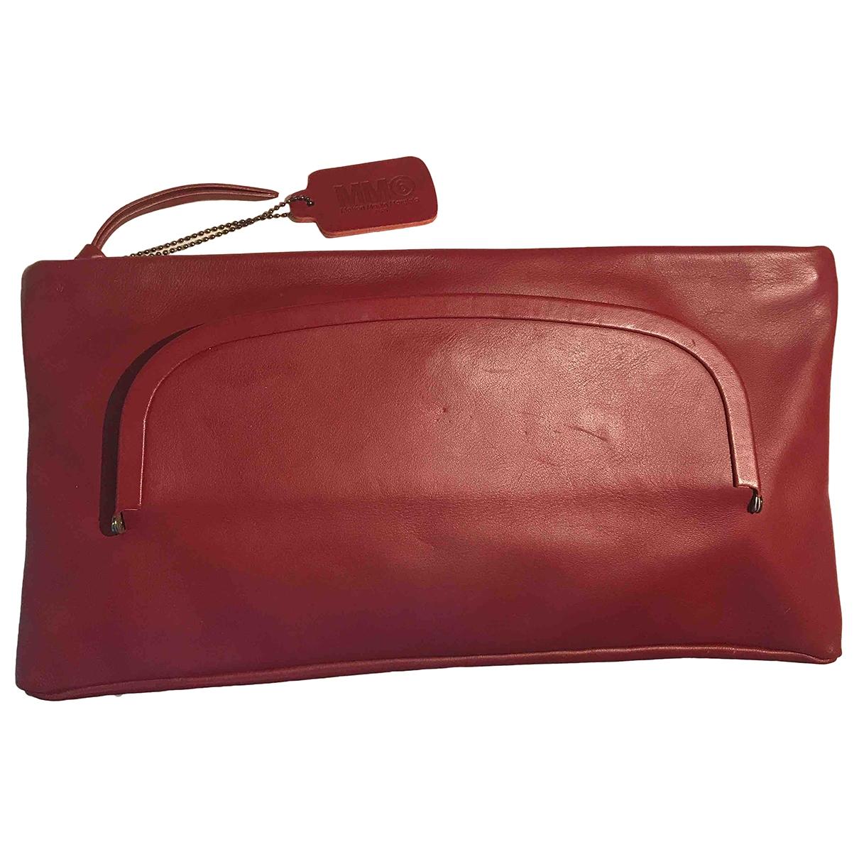 Mm6 - Pochette   pour femme en cuir - bordeaux