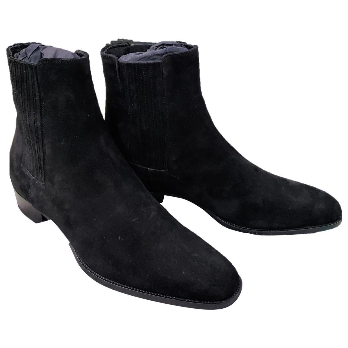 Saint Laurent Lukas Black Suede Boots for Men 43.5 EU