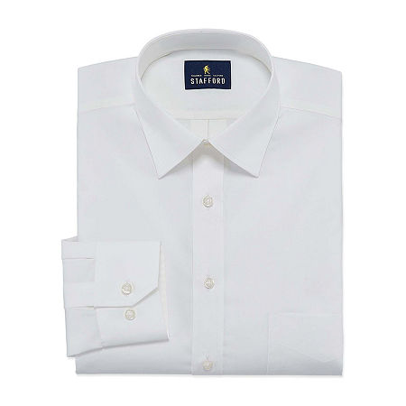 Stafford Mens Travel Easy-Care Broadcloth Stretch Regular Fit Dress Shirt, 16 36-37, White