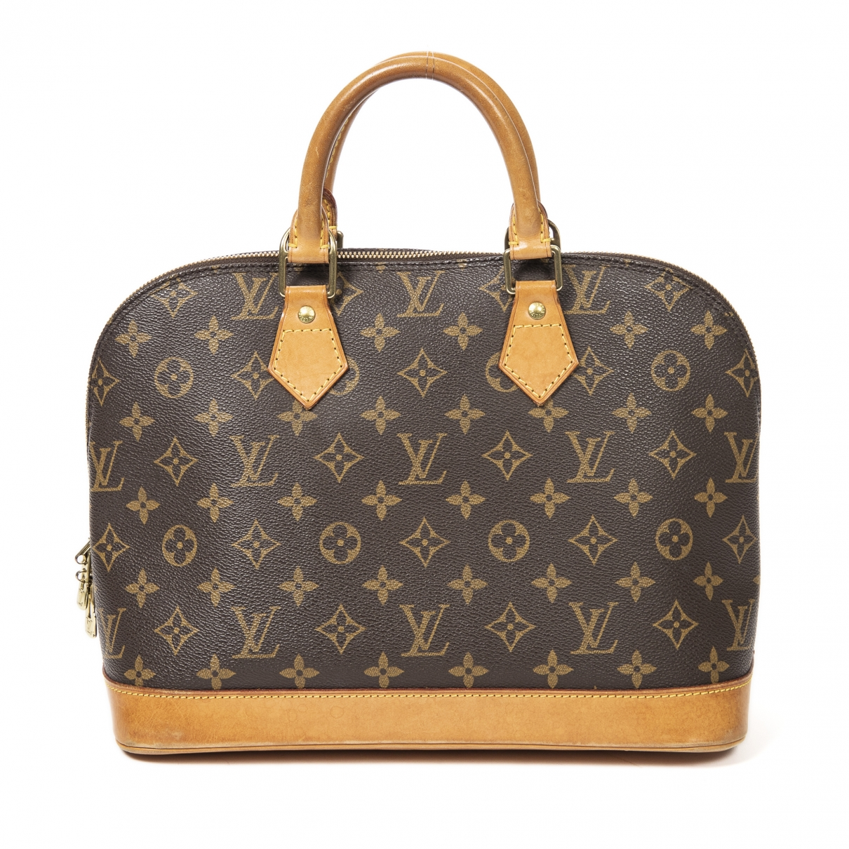 Louis Vuitton - Sac a main Alma pour femme en cuir - marron