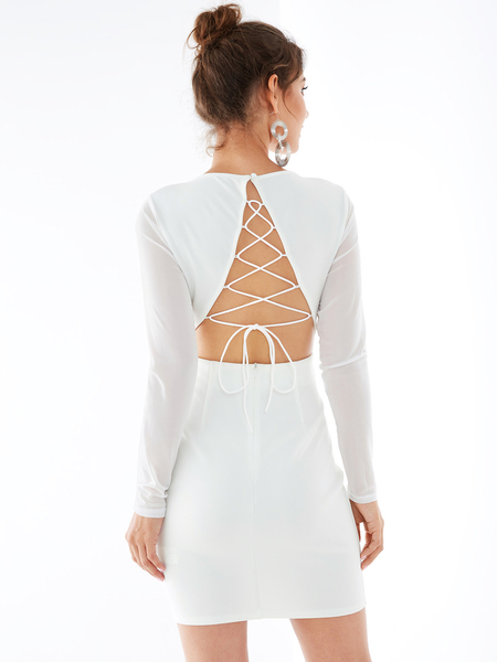 YOINS White Backless Design Square Neck Long Sleeves Dress
