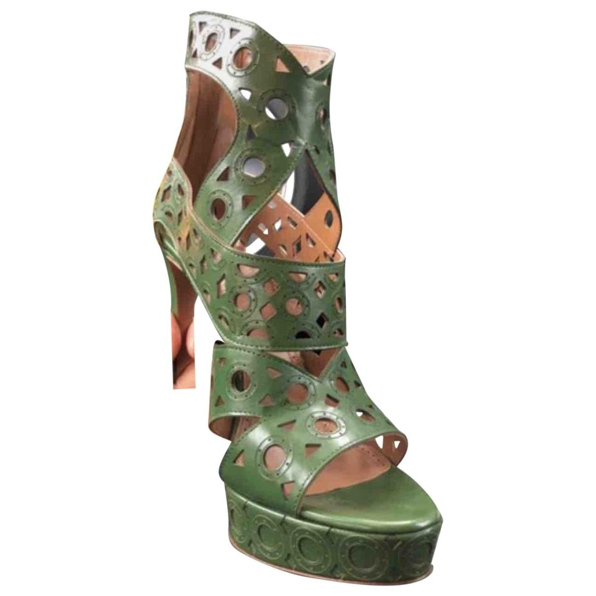 Alaia - Sandales   pour femme en cuir - vert