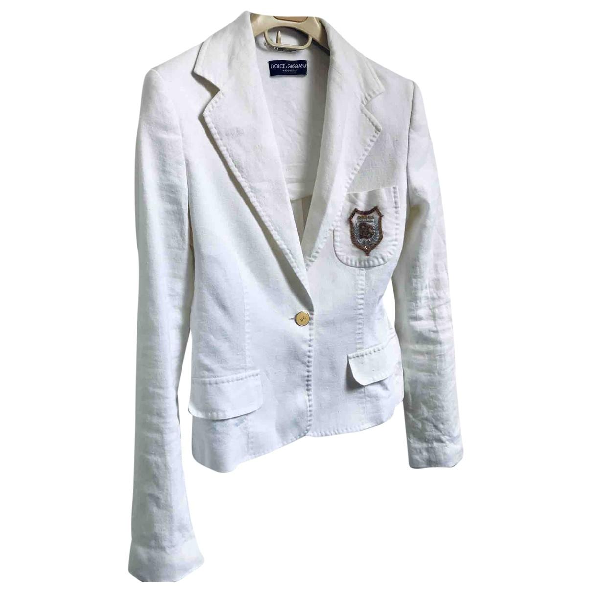 Dolce & Gabbana - Veste   pour femme en lin - blanc