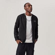 Jacke mit Reissverschluss, Taschen Klappe und Grafik Muster
