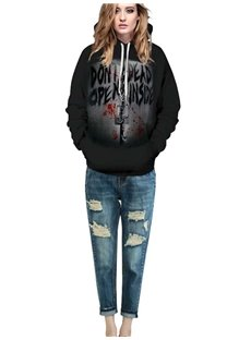 Special Long Sleeve Letter Pattern 3D Painted Hoodie