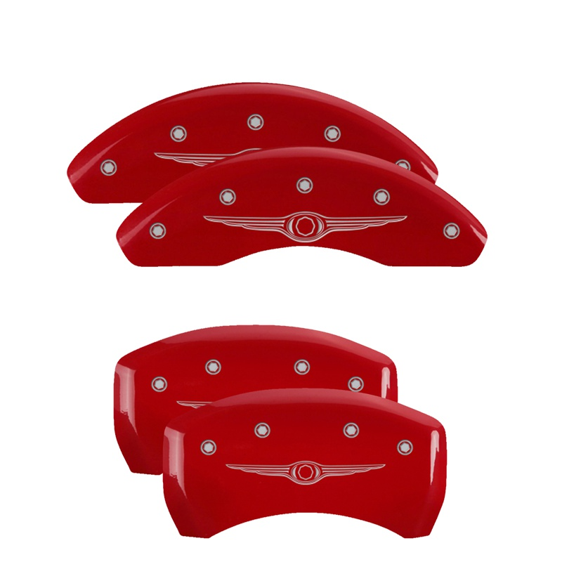 MGP Caliper Covers 32023SCW1RD Set of 4: Red finish, Silver Chrysler Wing Style 1 Chrysler 200 2015-2017