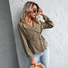 Double Breasted Knot Side Blouse