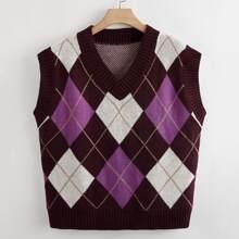 Plus Argyle Pattern Sweater Vest