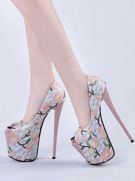 Milanoo Pink Sexy Shoes Women Platform Peep Toe Floral Printed High Heels