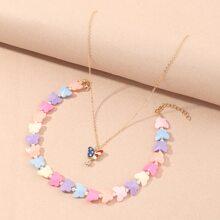 2 Stuecke Kleinkind Maedchen Halskette mit Schmetterling Dekor