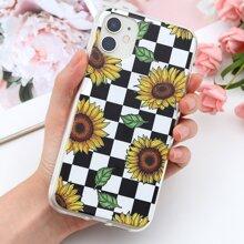 Sunflower & Checkerboard Print iPhone Case