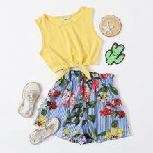 Girls Knot Hem Top & Paperbag Waist Botanical and Striped Shorts Set