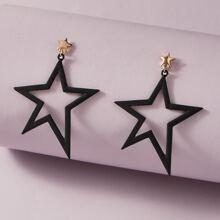 1pair Hollow Out Star Decor Drop Earrings