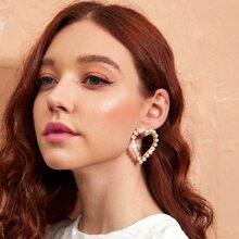 1pair Faux Pearl Beaded Heart Stud Earrings
