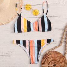 Striped Hipster Bikini Swimsuit