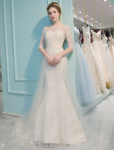 Milanoo Mermaid Wedding Dresses Lace Half Sleeve Illusion Sweetheart Beading Keyhole Bridal Gown With Train