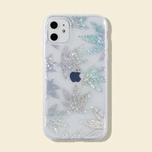 Glitter Maple Leaf Print iPhone Case