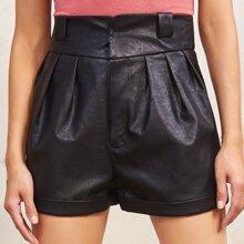 Fold Pleated Rolled Hem PU Leather Shorts