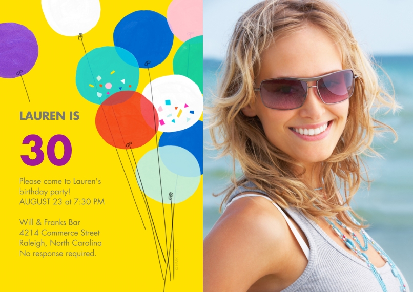 Birthday Party Invites 5x7 Cards, Premium Cardstock 120lb with Scalloped Corners, Card & Stationery -Milestone Birthday Party Balloons by Hallmark