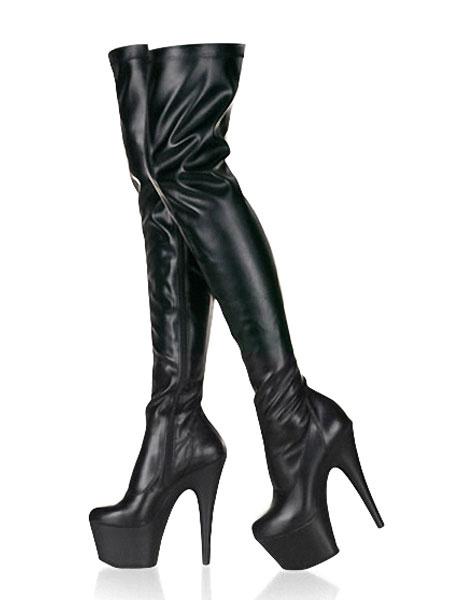 Milanoo Botas altas para el muslo negro Botas sobre la rodilla de la plataforma Plataforma con cremallera Botas sexy de tacon alto