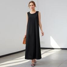 Solid Sleeveless Maxi Tunic Dress