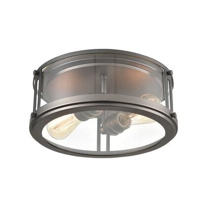 12112/2 2-Light Flush Mount in Black Nickel with Clear