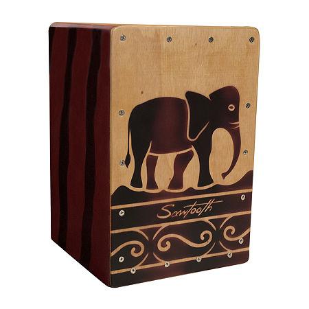 Sawtooth Harmony Series Hand-Stained Elephant Design Travel Size Cajon, One Size , Beige