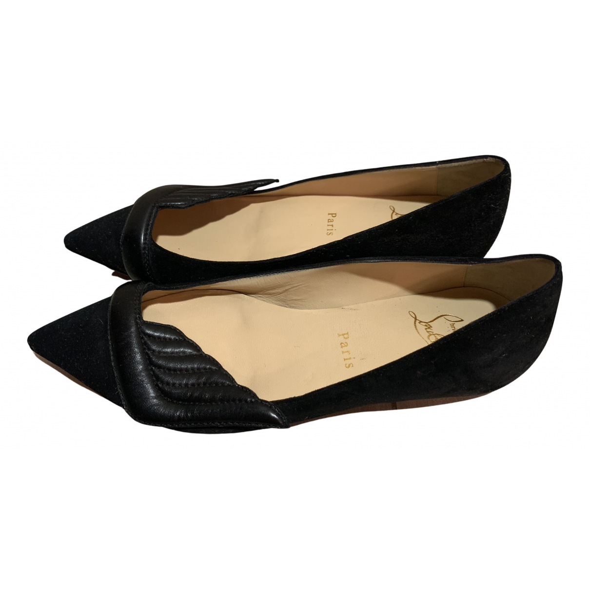 Christian Louboutin N Black Suede Flats for Women 36.5 EU