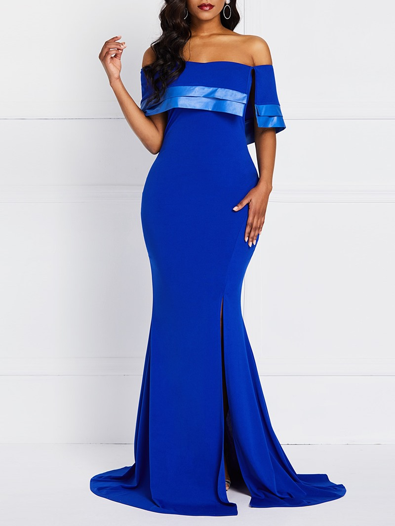 Ericdress Off Shoulder Floor-Length Plain Slit Dress