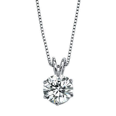 DiamonArt Womens 3 CT. T.W. White Cubic Zirconia Platinum Over Silver Pendant Necklace, One Size , No Color Family