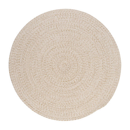 Colonial Mills American Tweed Braided Round Reversible Indoor Rugs, One Size , White