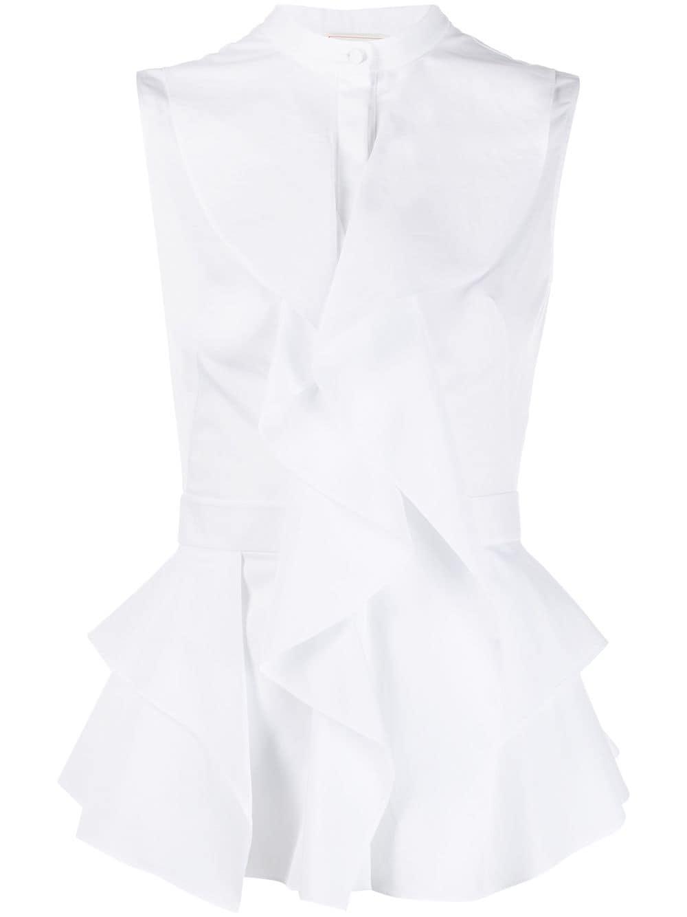 Sleeveless Ruffle Cotton Shirt