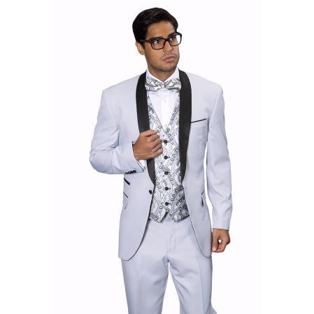 Mens Capri Silver Tuxedo Suit