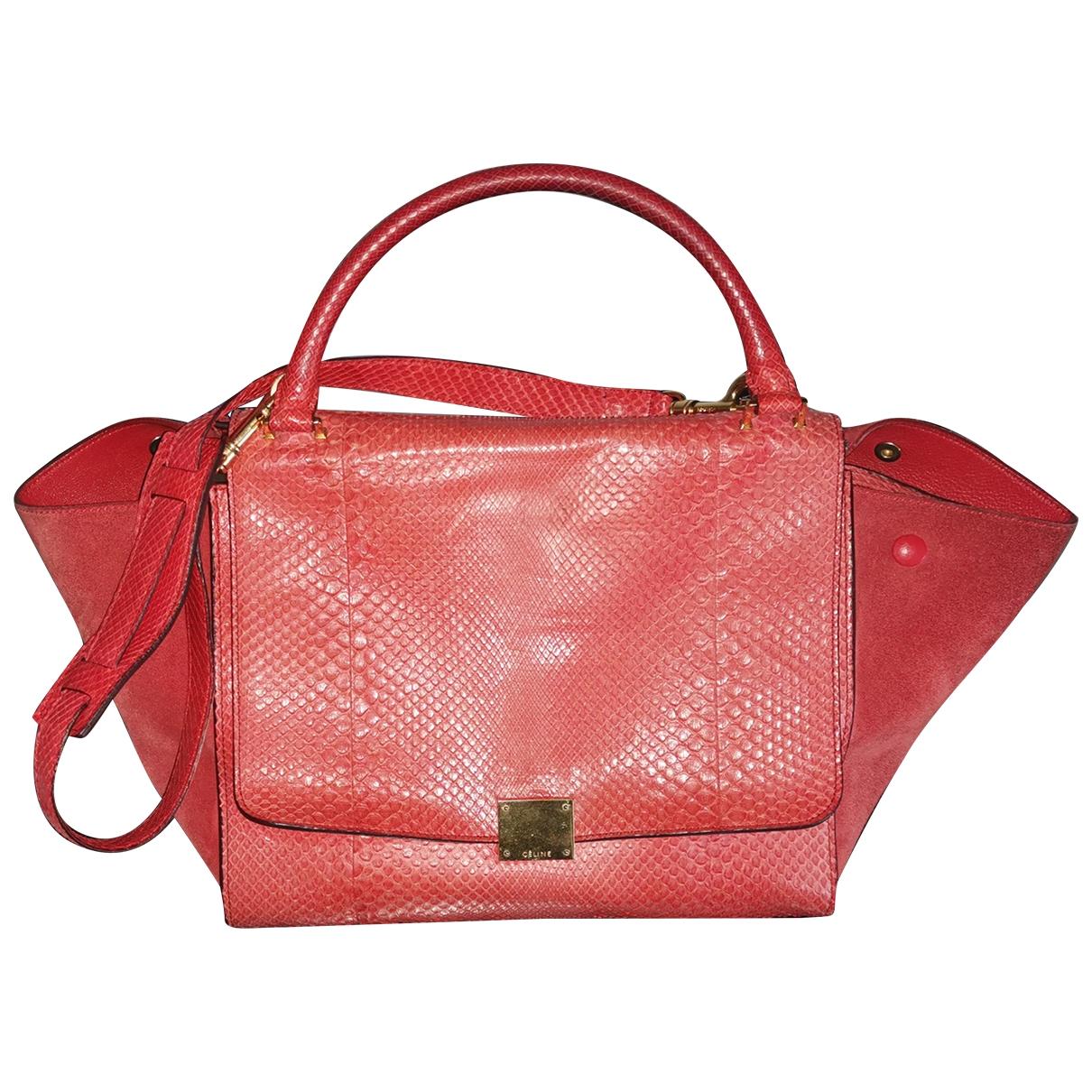 Celine Trapeze Handtasche in  Orange Python
