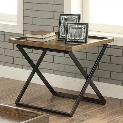 Mina Collection CM4317E End Table with X-Shape Table Base and Tray Top in Medium Weathered