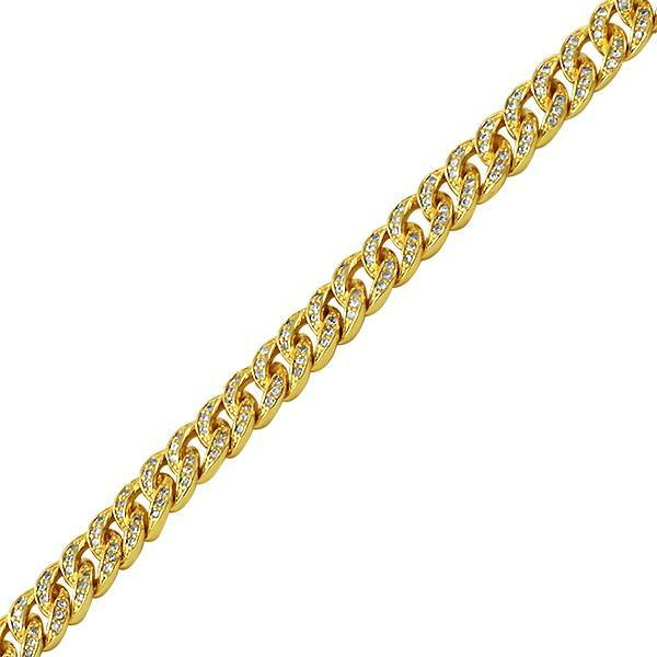 .925 Silver 8MM Gold Bling Bling CZ Cuban Links Bracelet