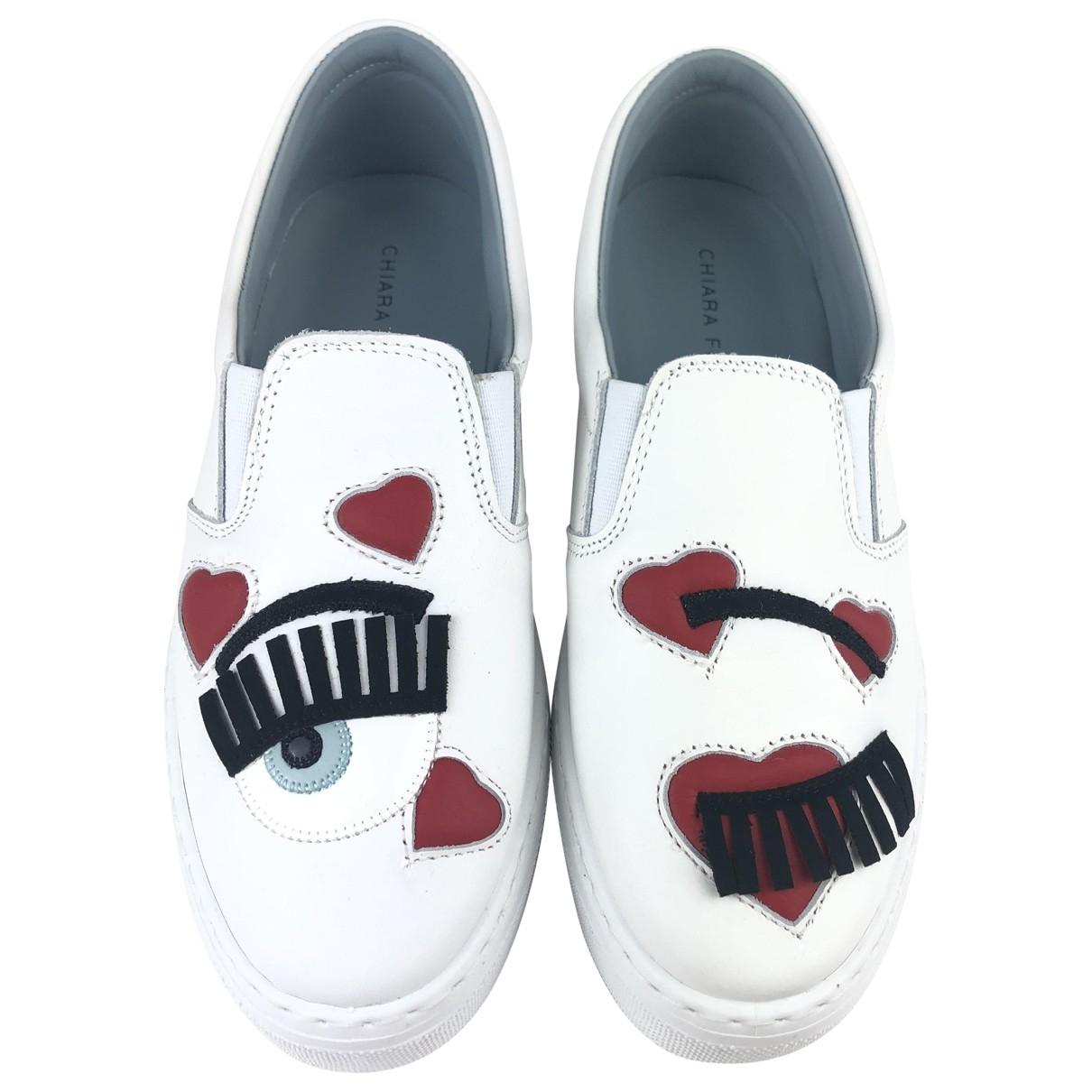 Chiara Ferragni \N White Leather Flats for Women 38 EU