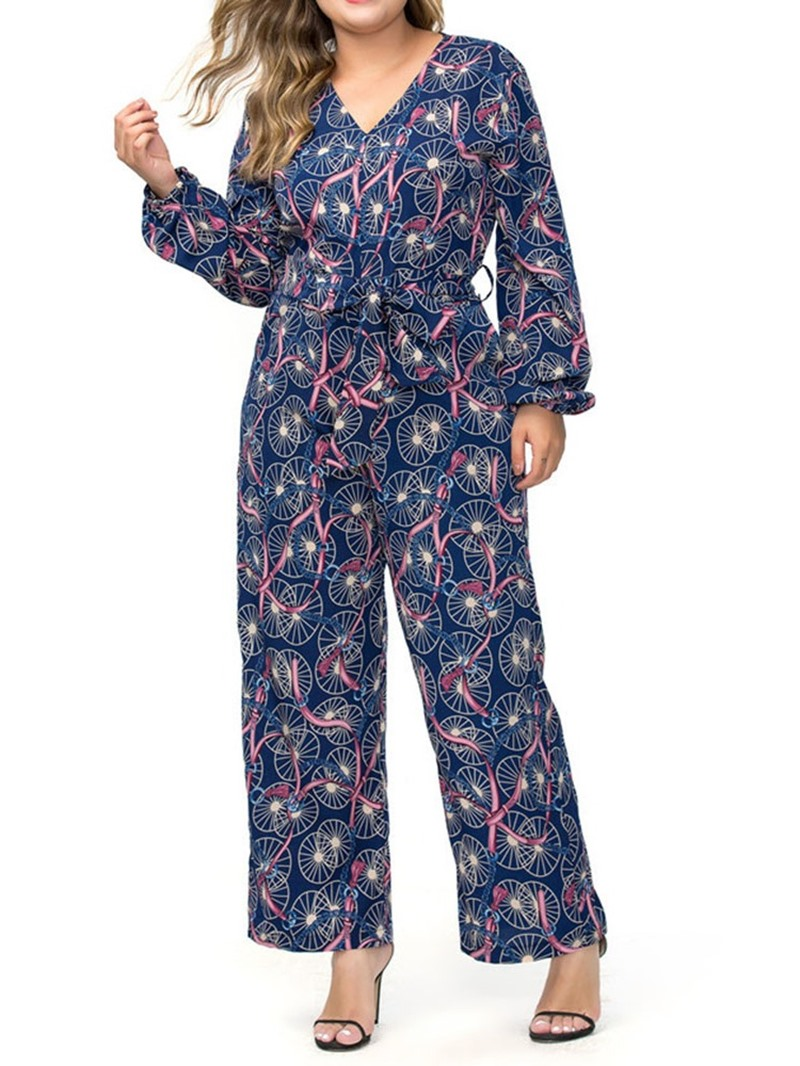 Ericdress Plus Size Geometric Fashion Loose Straight Jumpsuit