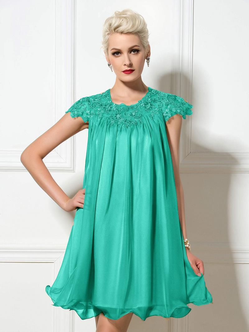 Ericdress Short Sleeve Appliques Sequins Short Cocktail Dress