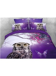 Vivid Owl and Flower Butterfly Purple Printed 4-Piece 3D Bedding Sets/Duvet Covers