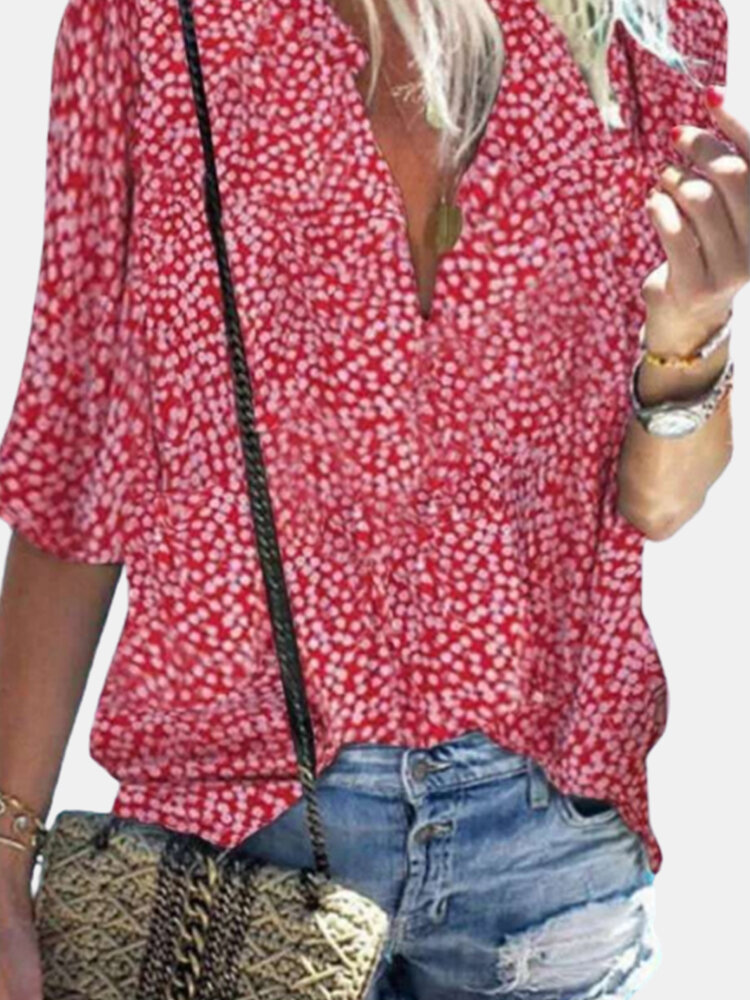 Casual Polka Dot V-neck Stand Collar Half Sleeve Blouse