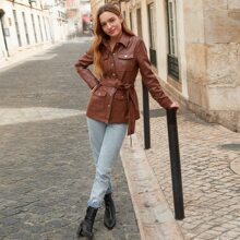 Collared Press Buttoned Pocket Front Self Belted PU Leather Coat