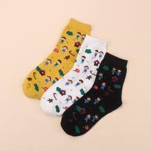 3 Paare Socken mit Karikatur Grafik