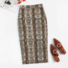 Split Hem Snakeskin Pencil Skirt