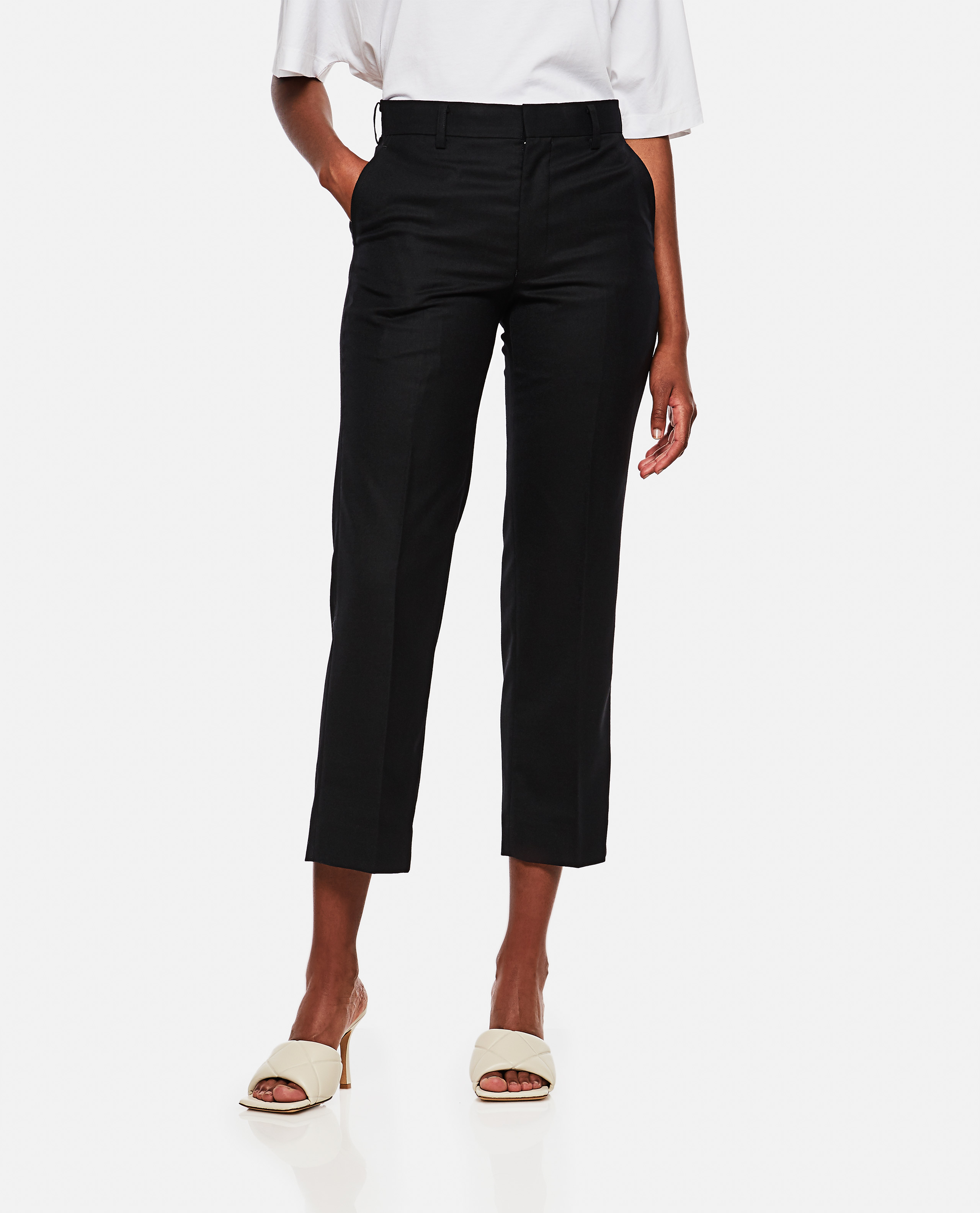 Wide trousers in cotton twill
