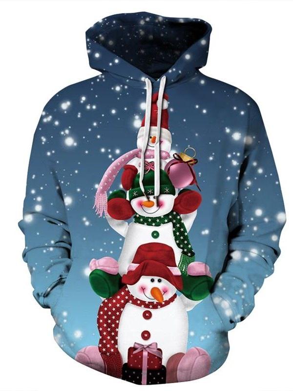 Christmas Snowman Pattern 3D Painted Blue Long Sleeve Hoodie