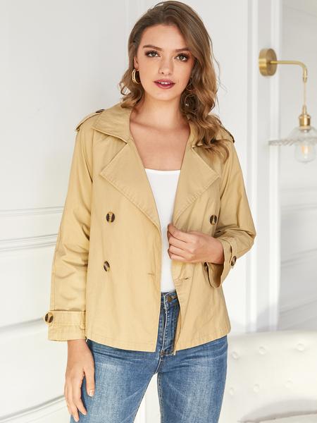 YOINS Camel Button Design Lapel Collar Long Sleeves Jacket