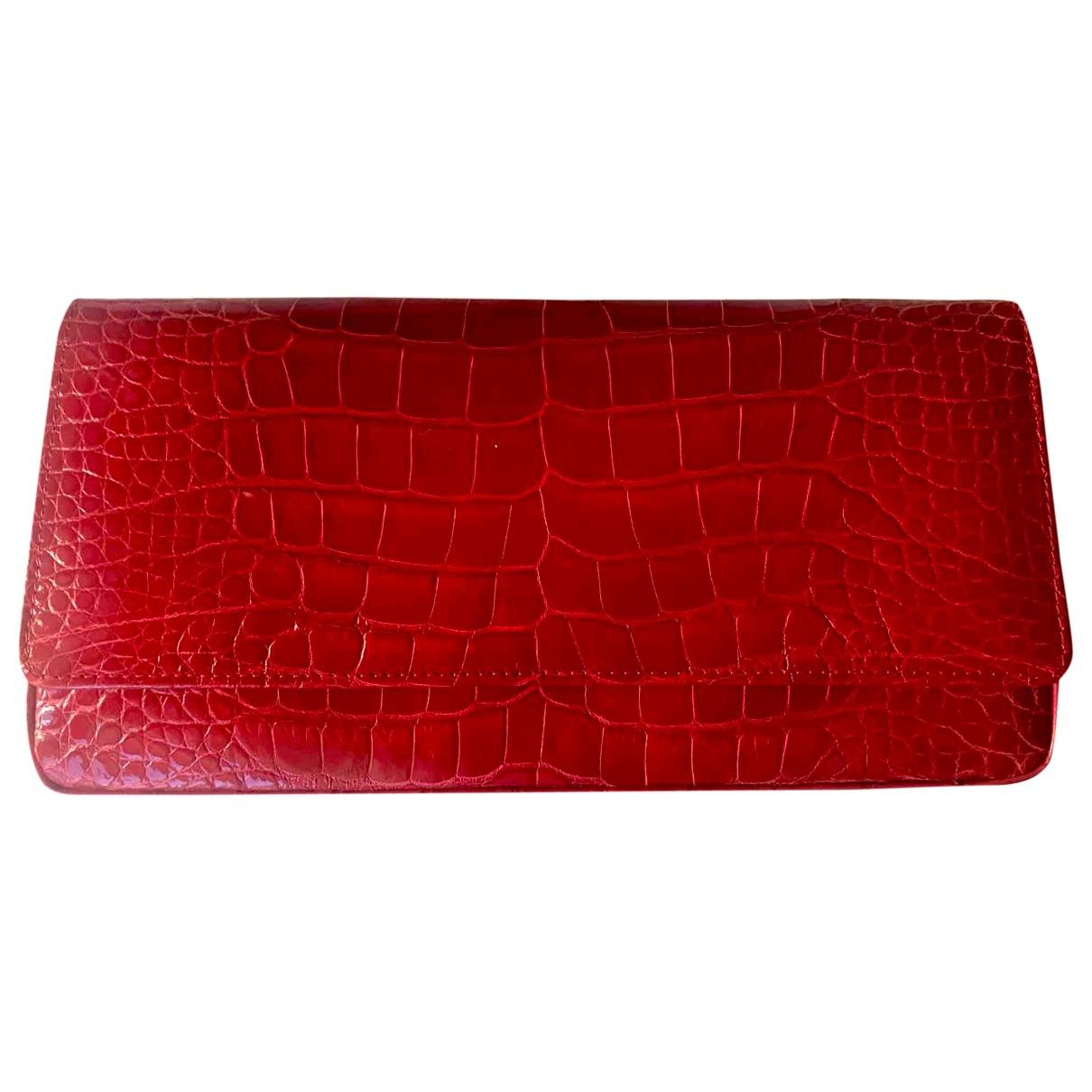 Manolo Blahnik - Pochette   pour femme en alligator - rouge