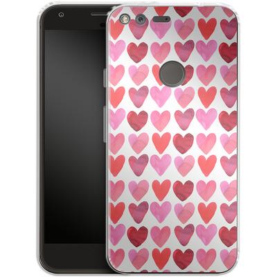 Google Pixel Silikon Handyhuelle - Heart Watercolour von Amy Sia